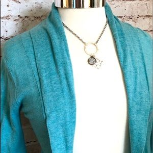 Frenchi Sweaters - Turquoise wide lapel open cardigan